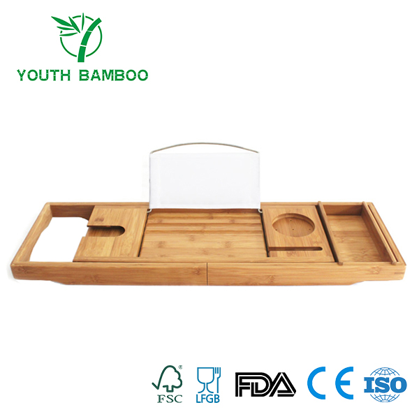 Bamboo Bathtub Caddy Tray Wire Holder