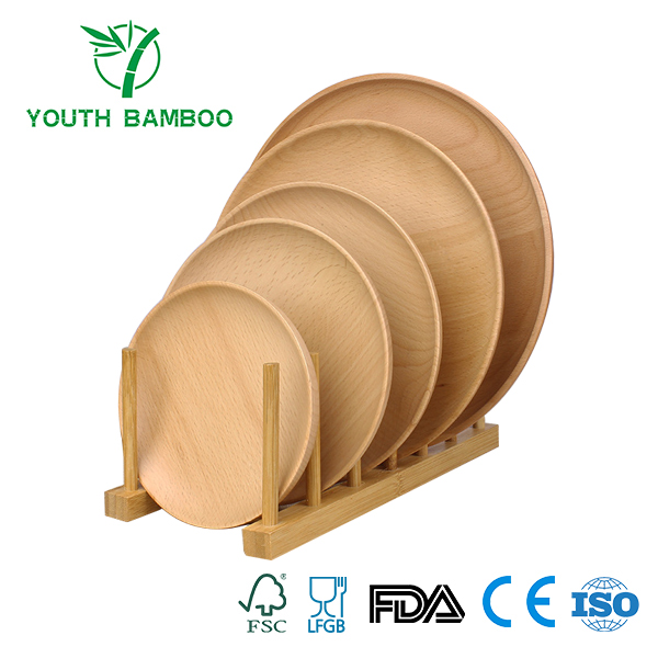 Bamboo Plate Rack Stand