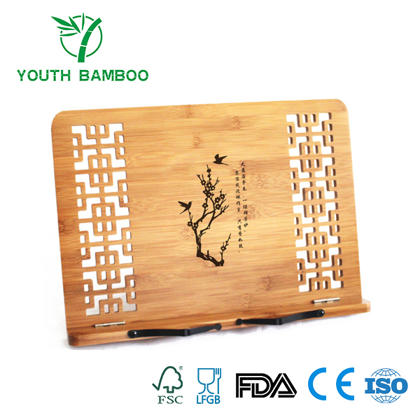 Bamboo Book Stand With Hollow Pettern Customized Design