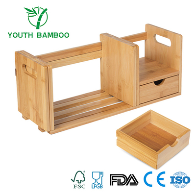 Bamboo Book Organizer Storage With Extension Rack