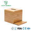 Bamboo Square Tissue Holder Slide Open