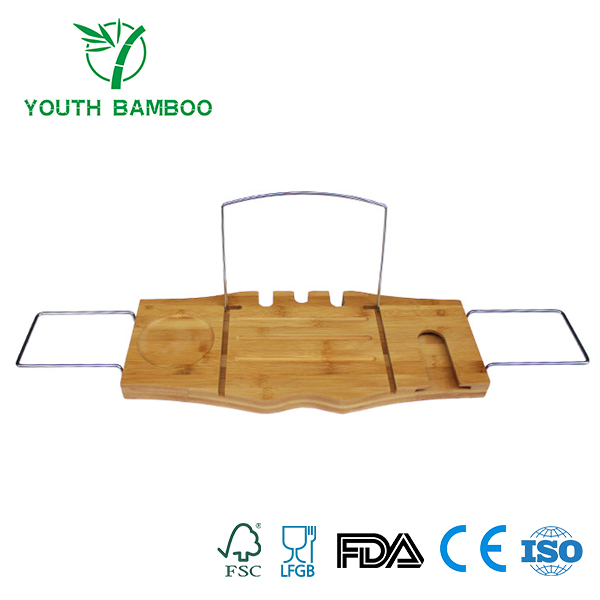 Bamboo Bathtub Caddy Tray With Stainless Steel Rack